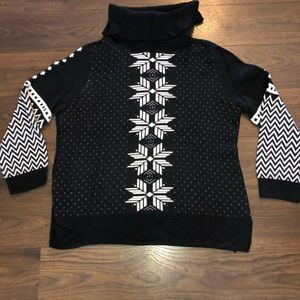 Talbots black and white Christmas sweater